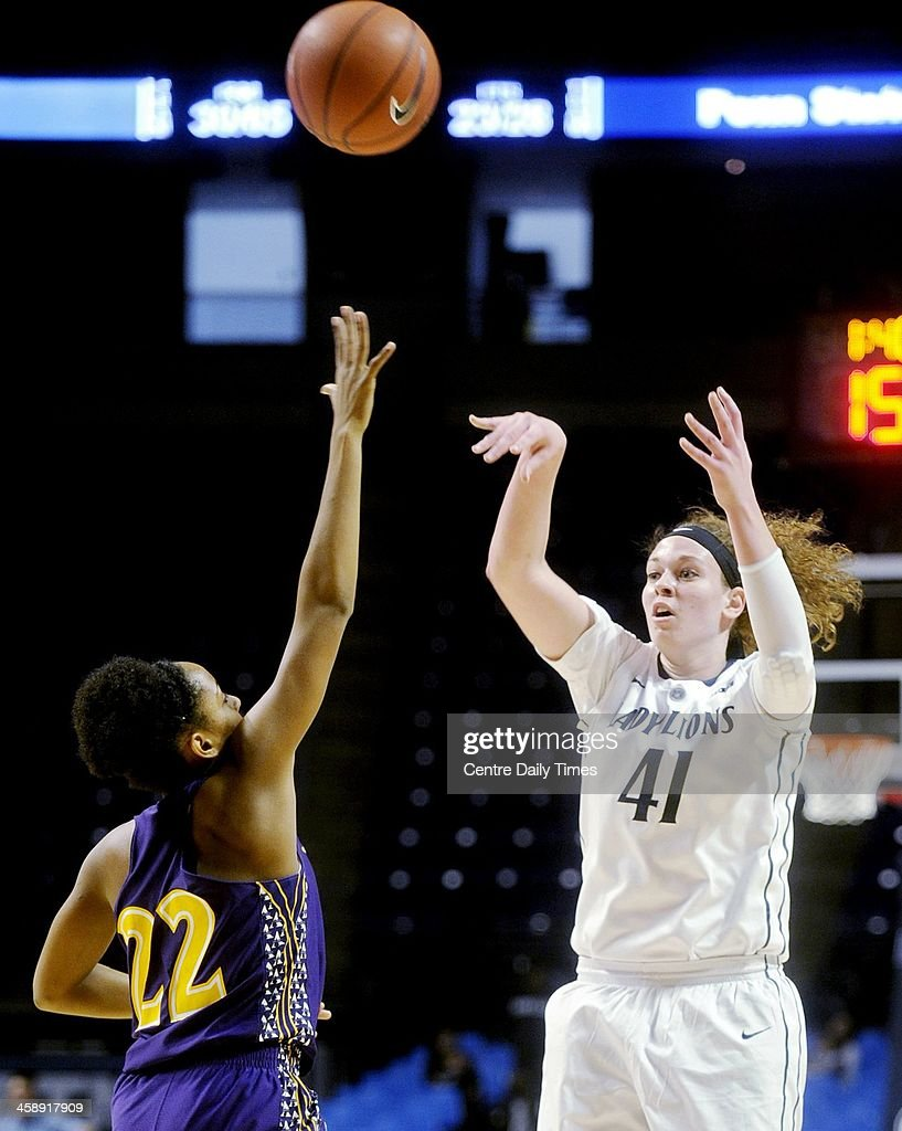 Penn State's Jenny DeGraaf shoots over Alcorn State defender Kierro Frost during game action at the Bryce Jordan Center in State College, Pa., Sunday, Dec. 22, 2013.