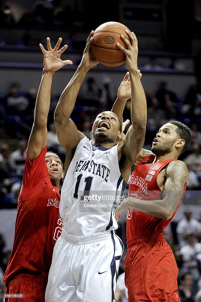 Penn State's Jermaine Marshall goes in for a basket against Nebraska on Saturday, January 19, 2013, at the Bryce Jordan Center in University Park, Pennsylvania. Nebraska pulled out a 68-64 victory.