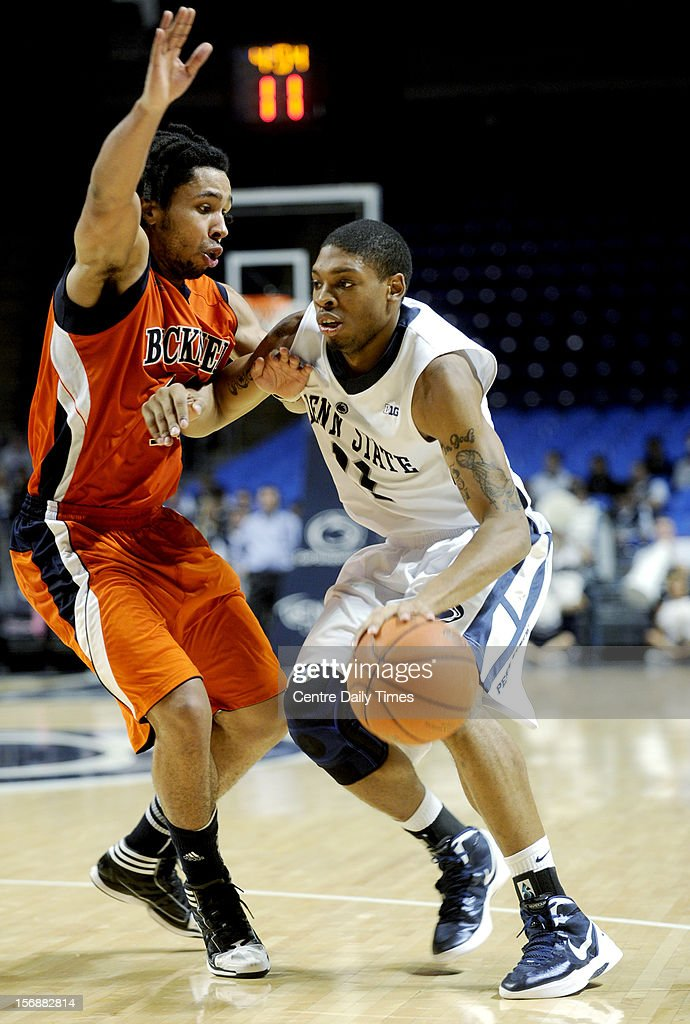 Penn State's Jermaine Marshall, right, drives against Bucknell's Bryson Johnson on Friday, November 23, 2012, at the Bryce Jordan Centerin University Park, Pennsylvania. Penn State prevailed, 60-57.