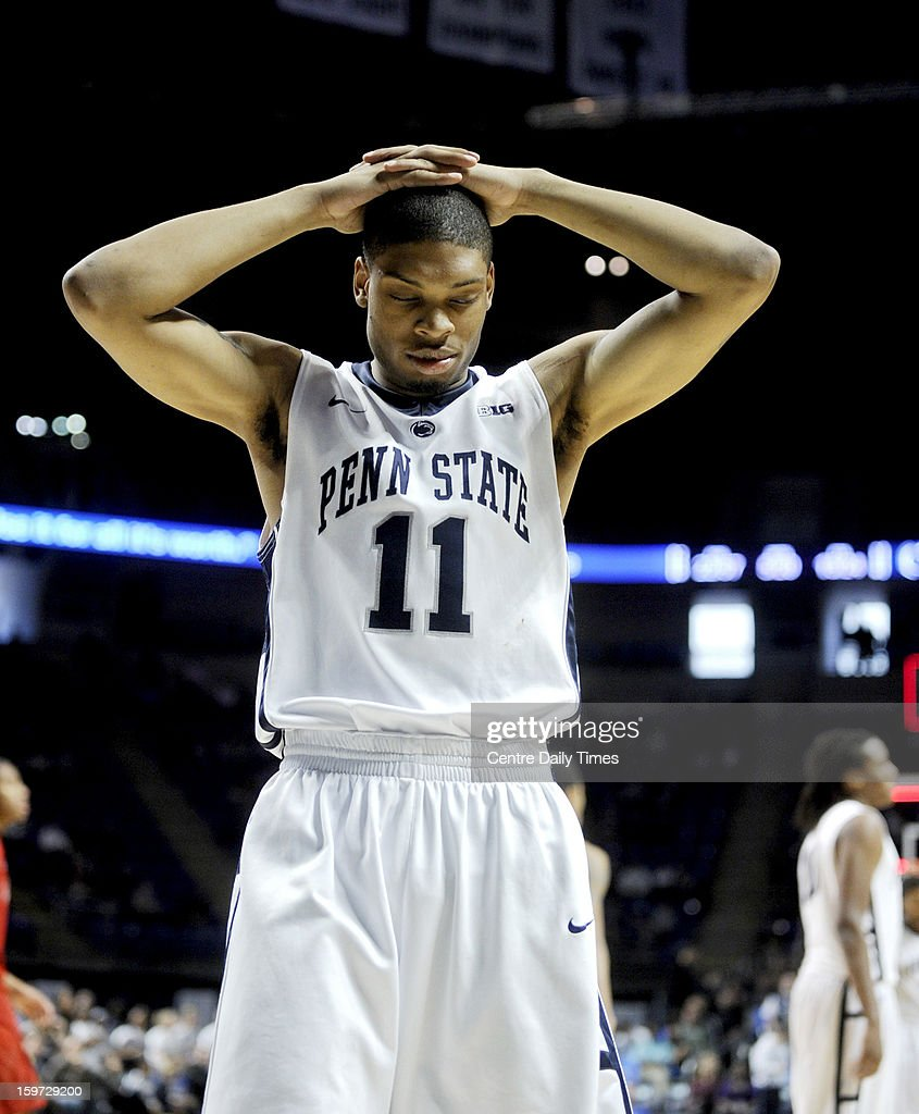 Penn State's Jermaine Marshall walks off the court after a 68-64 loss against Nebraska on Saturday, January 19, 2013, at the Bryce Jordan Center in University Park, Pennsylvania.