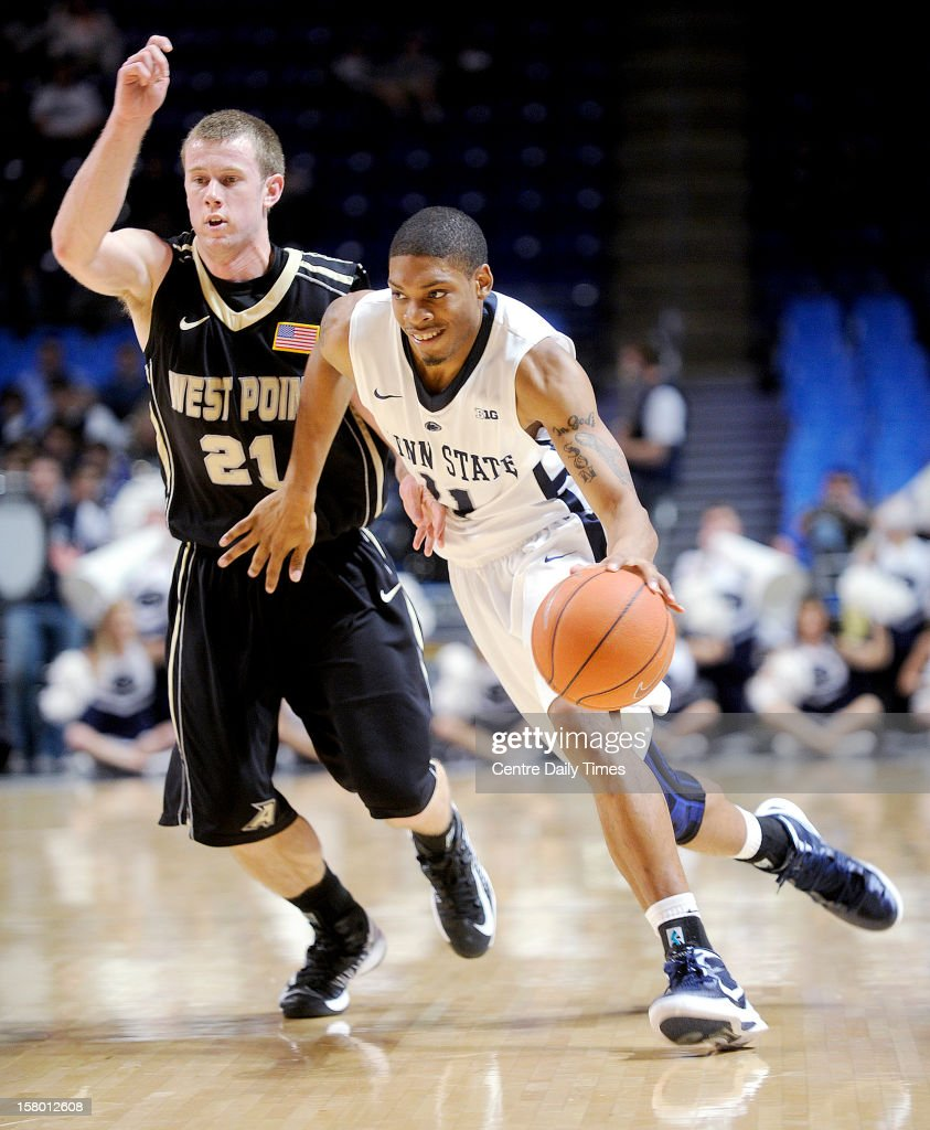 Penn State's Jermaine Marshall works off the dribble against Army's Kyle Wilson on Saturday, December 8, 2012, at the Bryce Jordan Center in University Park, Pennsylvania. Penn State topped Army, 78-70.