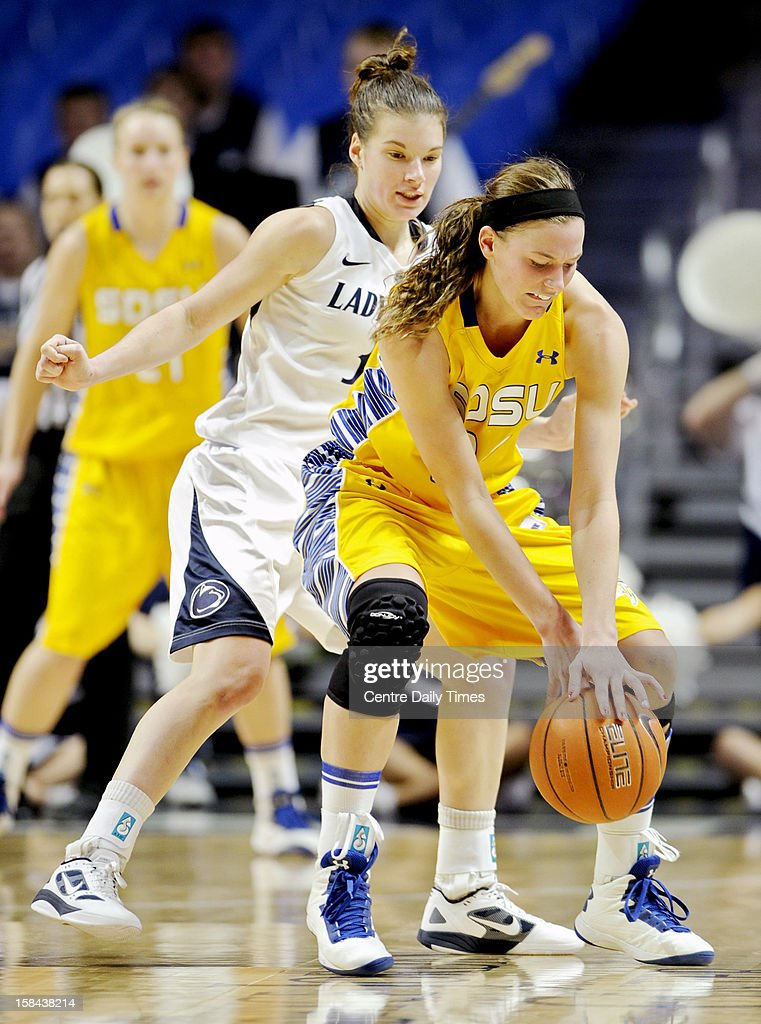Penn State's Maggie Lucas pressures South Dakota State's Megan Waytashek during game action at the Bryce Jordan Center in State College, Pennsylvania, Sunday, December 16, 2012. Penn State beat South Dakota State, 60-50.