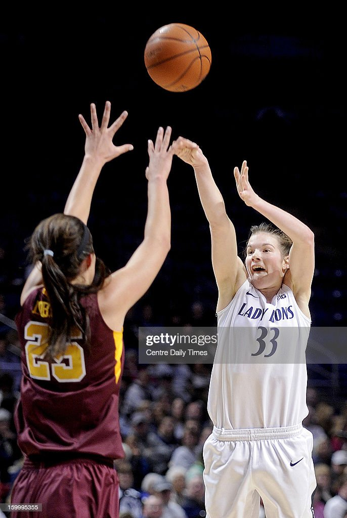 Penn State's Maggie Lucas shoots a 3-pointer over Minnesota's Katie Loberg on Thursday, January 24, 2013, at the Bryce Jordan Center in University Park, Pennsylvania. The Lady Lions won, 64-59.