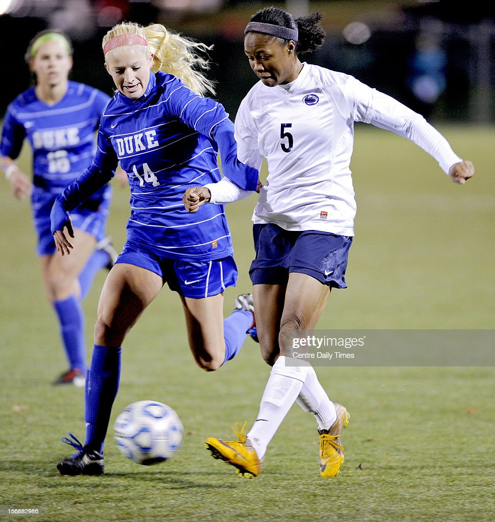 Penn State's Maya Hayes (5) battles Duke's Erin Koballa in the quarterfinals of the NCAA championships on Friday, November 23, 2012, at Jeffrey Field in University Park, Pennsylvania. Penn State advanced, 1-0.