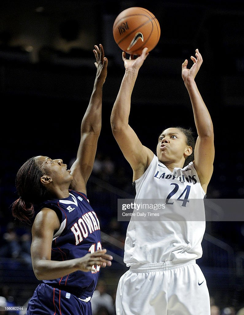Penn State's Mia Nickson shoots a basket over Howard's Saadia Doyle Sunday, November 11, 2012, at the Bryce Jordan Center in State College, Pennsylvania. The Lady Lions won their home opener, 72-61.