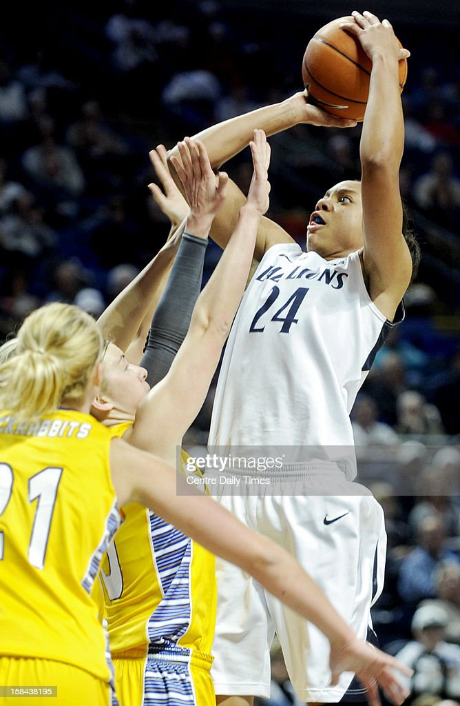 Penn State's Mia Nickson shoots for a basket over South Dakota State defenders during game action at the Bryce Jordan Center in State College, Pennsylvania, Sunday, December 16, 2012. Penn State beat South Dakota State, 60-50.