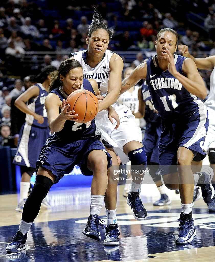 Penn State's Mia Nickson tries to steal the ball from Georgetown's Jasmine Jackson during the first half Sunday, December 9, 2012, at the Bryce Jordan Center in State College, Pennsylvania.