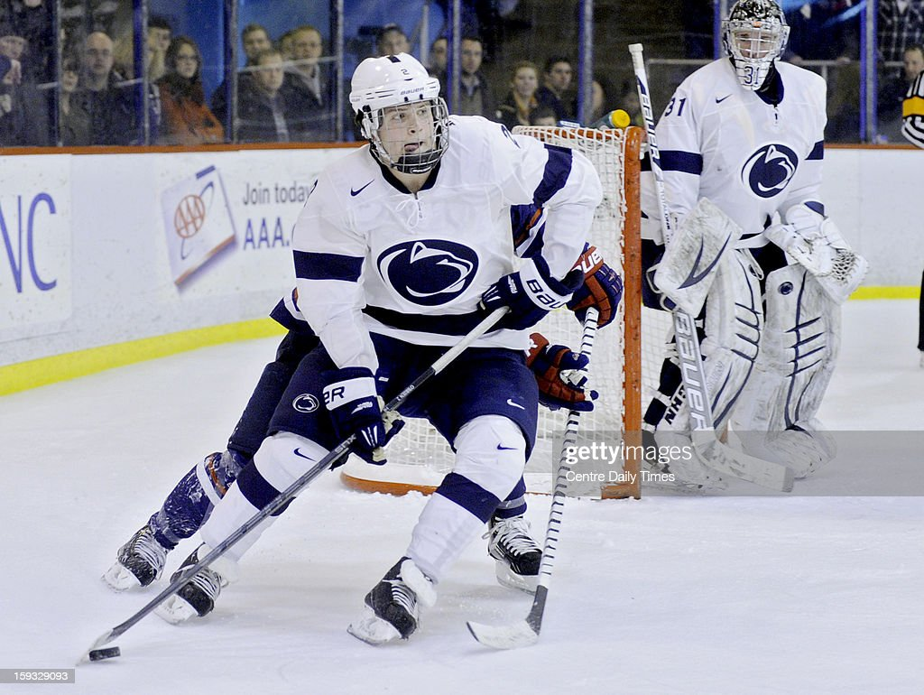 Penn State's Rich O'Brien skates with the puck against the U.S. National Under-18's on Friday, January 11, 2013, at Greenberg Ice Pavilion in University Park, Pennsylvania.