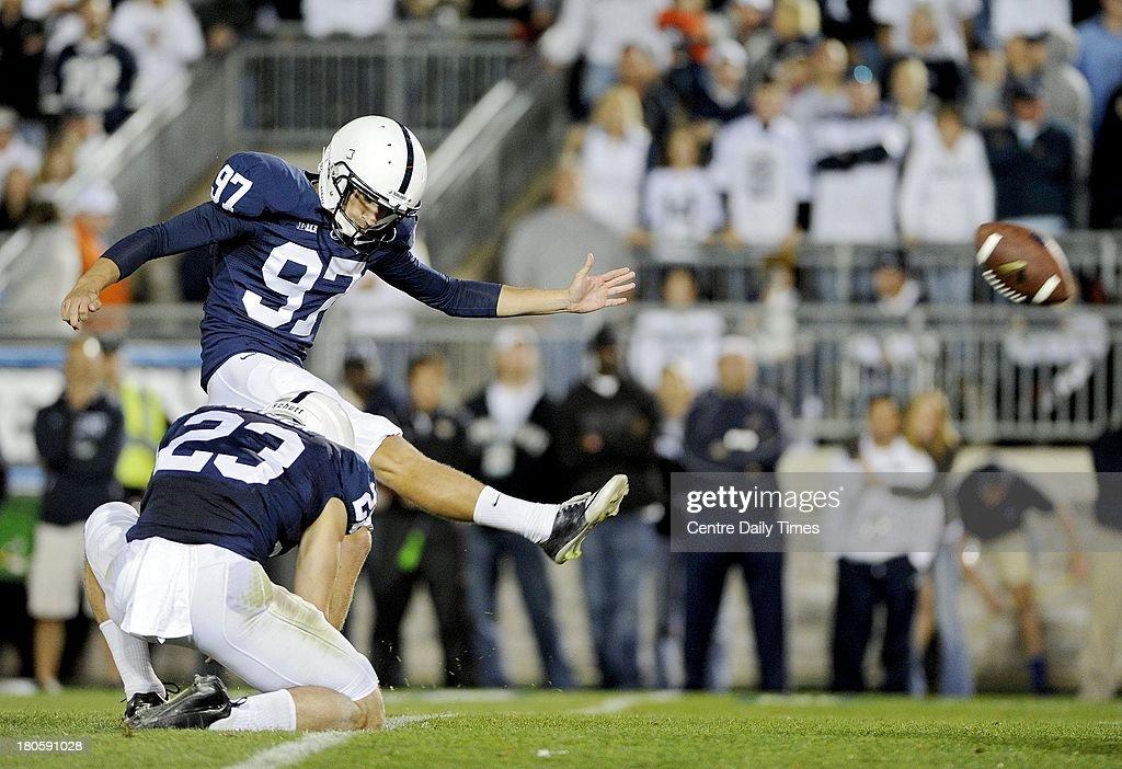 Penn State's Sam Ficken kicks a field goal against Central Florida on Saturday, September 14, 2013, at Beaver Stadium in University Park, Pennsylvania. UCF prevailed, 34-31.