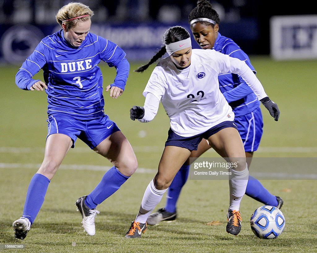 Penn State's Tani Costa controls the ball against Duke defender Libby Jandl, left, in the quarterfinals of the NCAA championships on Friday, November 23, 2012, at Jeffrey Field in University Park, Pennsylvania. Penn State advanced, 1-0.