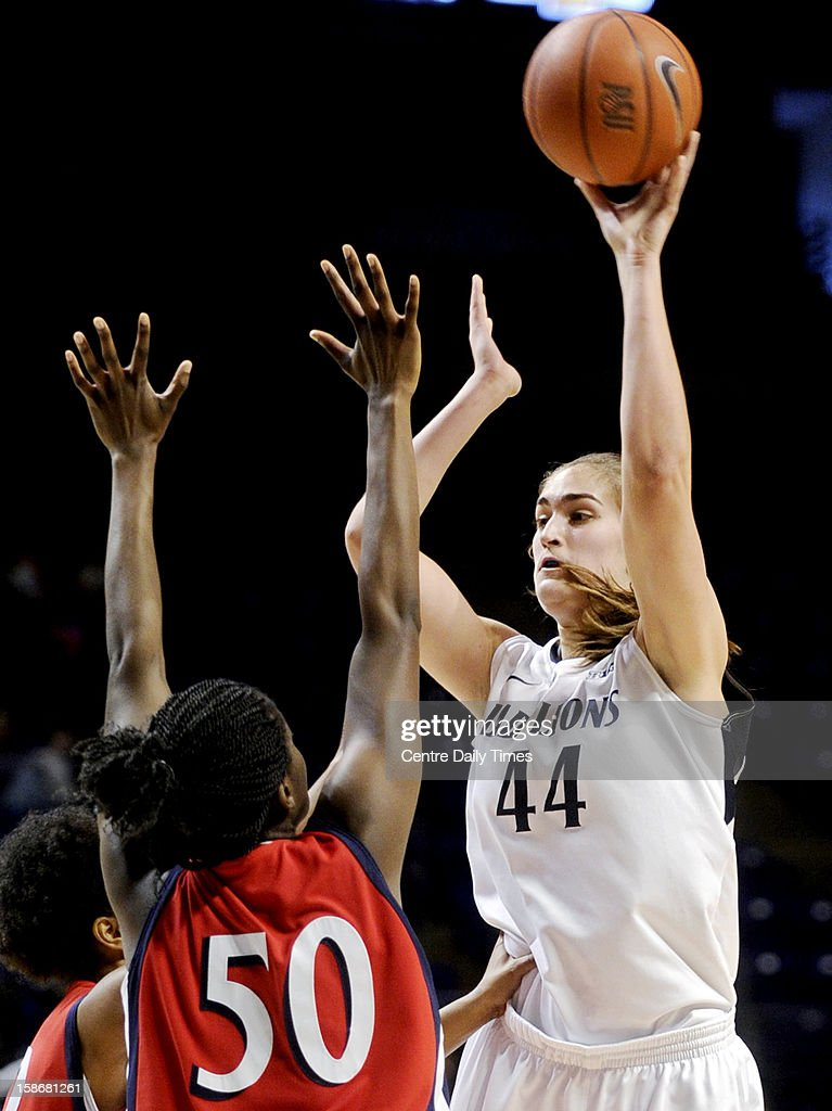 Penn State's Tori Waldner takes a shot over NJIT's Uju Nwankwo during a women's college basketball game at the Bryce Jordan Center on Sunday, December 23, 2012, in State College, Pennsylvania.