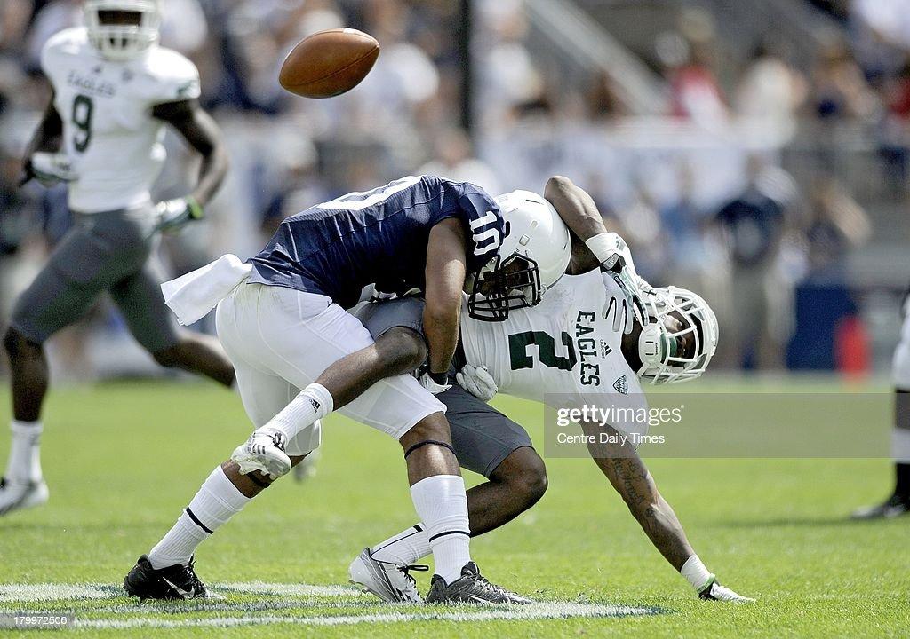 Penn State's Trevor Williams tackles Eastern Michigan's Demarius Reed (2) at Beaver Stadium in University Park, Pennsylvania, on Saturday, September 7, 2013. Penn State overwhelmed the Eagles, 45-7.
