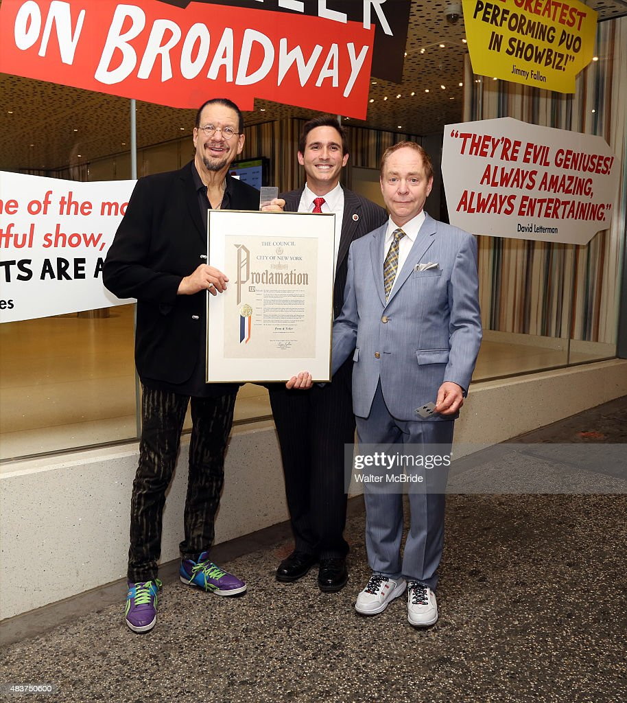 Penn Teller accept a proclamation from Ken Kallos Council member of the 5th district for their 40th Anniversary of inspiring and thriling audiences...
