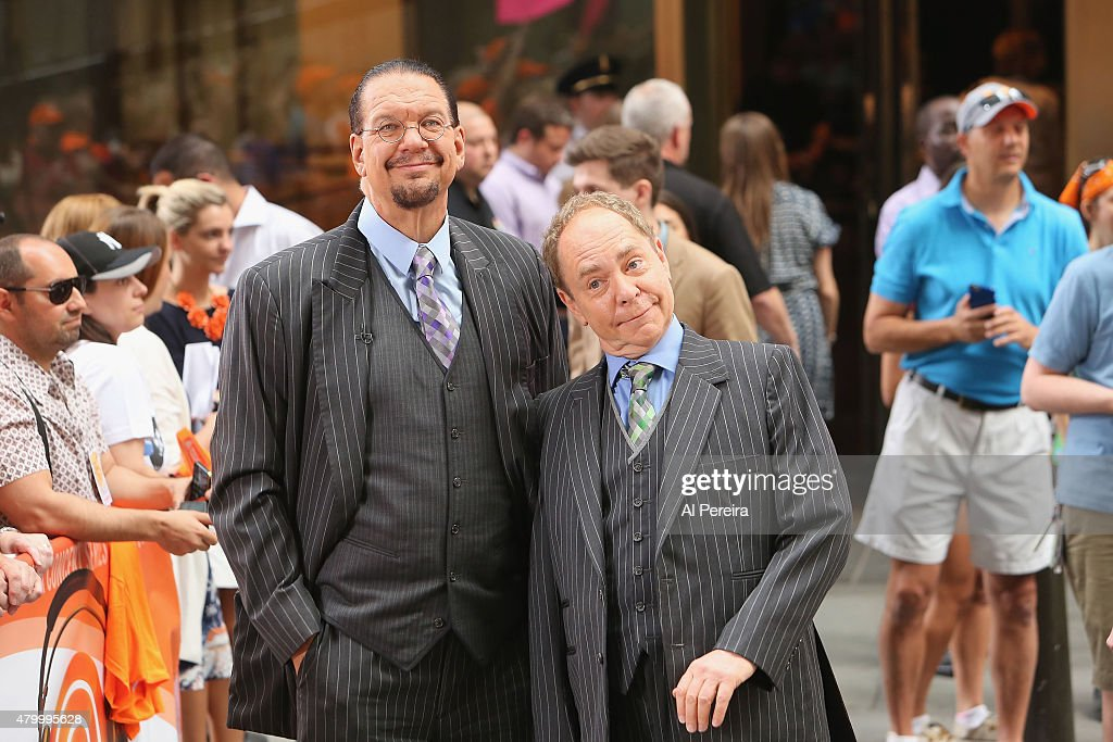 Penn Teller check out Culture Club when they perform on NBC's 'Today Show' at Rockefeller Plaza on July 2 2015 in New York City