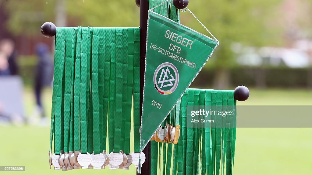 Pennant and medals are seen at the sideline during the U16 Juniors Federal Cup at Sportschule Wedau on May 03, 2016 in Duisburg, North Rhine-Westphalia.