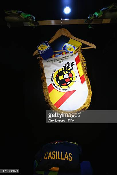 A pennant and shirt of Iker Casillas of Spain on display in the Spain changing room prior to the FIFA Confederations Cup Brazil 2013 Final match...