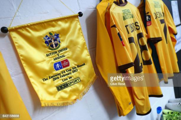 A pennant and shirts hang in the Sutton United changing room prior to The Emirates FA Cup Fifth Round match between Sutton United and Arsenal at The...