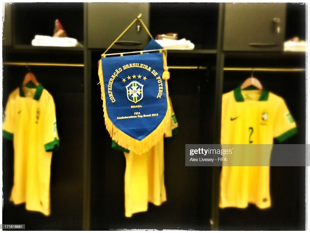 A pennant and shirts on display in the Brazil changing room prior to the FIFA Confederations Cup Brazil 2013 Semi Final match between Brazil and Uruguay at Governador Magalhaes Pinto Estadio Mineirao on June 26, 2013 in Belo Horizonte, Brazil.