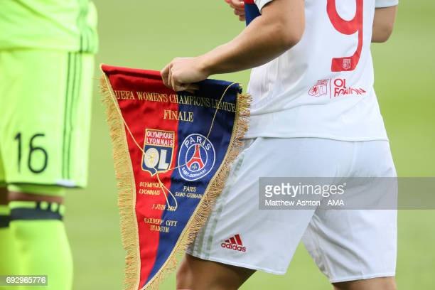 Pennant of Olympique Lyonnais during the UEFA Women's Champions League Final match between Lyon and Paris Saint Germain on June 1 2017 in Cardiff...