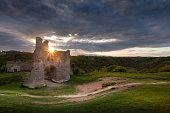 Pennard castle on the Gower peninsula, overlooking Three Cliffs Bay, Swansea.