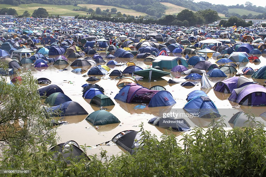 Pennard Hill Camping field with tents in flooding at Glastonbury Festival