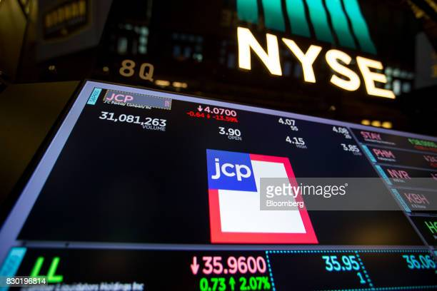 JC Penney Co signage is displayed on a monitor on the floor of the New York Stock Exchange in New York US on Friday Aug 11 2017 US stocks halted a...