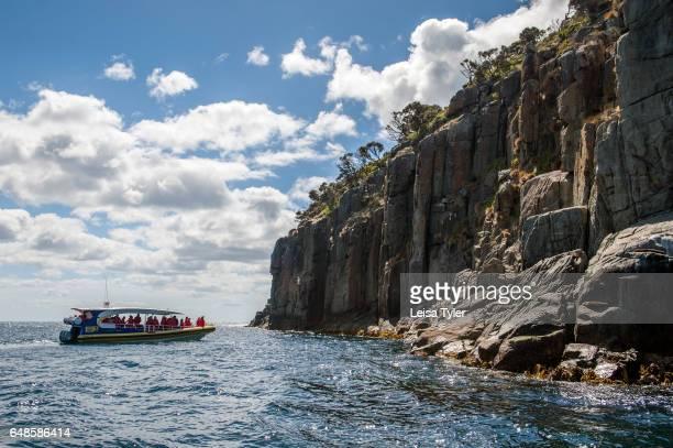 PENINSULA TASMANIA AUSTRALIA Pennicott Wilderness Journey's cruise off Tasman Island in Tasmania Home to the penal colony site of Port Arthur the...