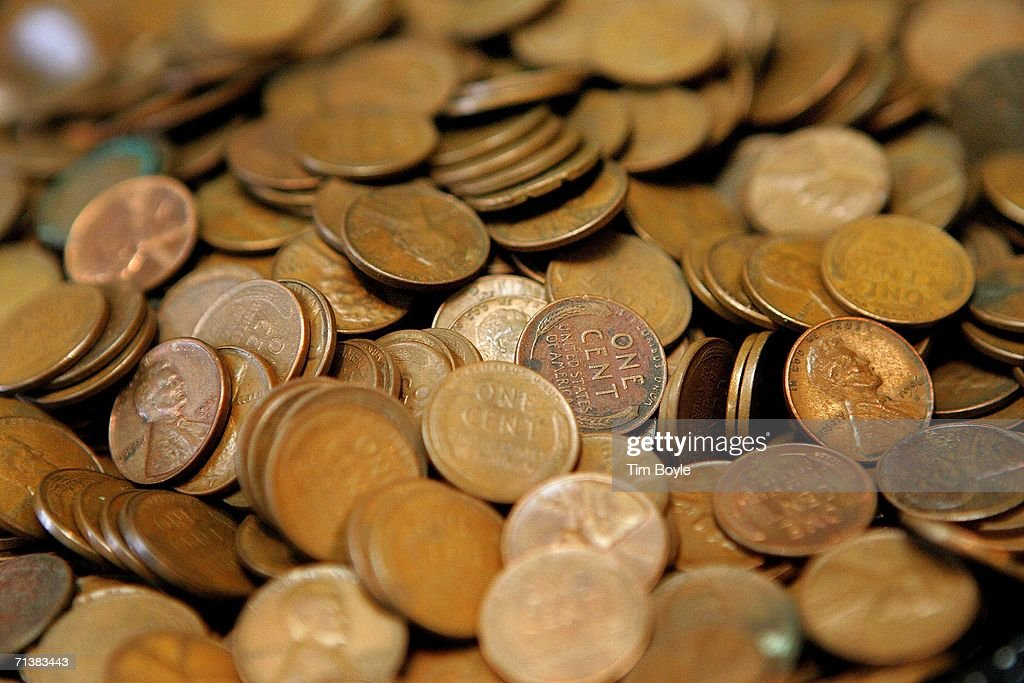Pennies are displayed at Glenview Coin Collectibles July 6 2006 in Glenview Illinois Reportedly due to manufacturing costs the US Mint may be...