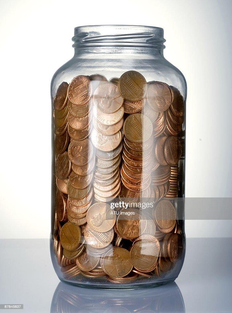 Pennies in Jar : Stock Photo