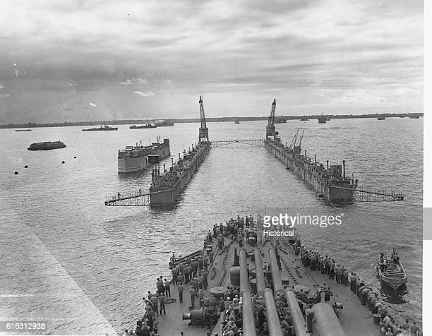 USS Pennsylvania Entering Floating Drydock at Manus Island