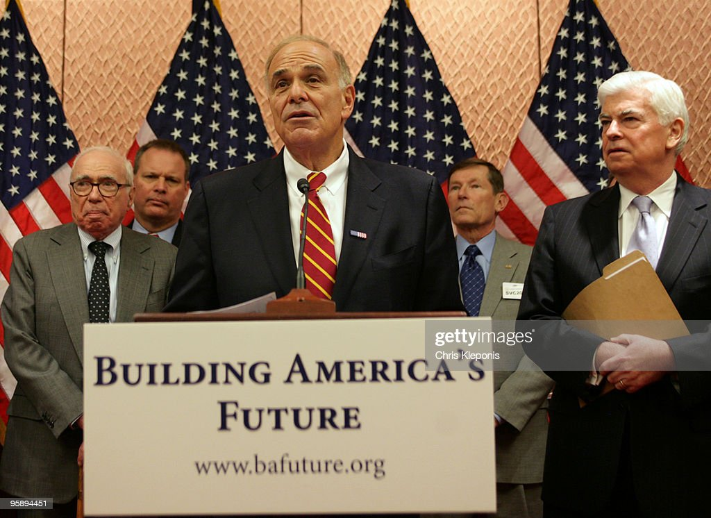 Pennsylvania Gov. <a gi-track='captionPersonalityLinkClicked' href=/galleries/search?phrase=Ed+Rendell&family=editorial&specificpeople=2445310 ng-click='$event.stopPropagation()'>Ed Rendell</a> (C) announces his support for the creation of a National Infrastructure on Capitol Hill January 20, 2010 in Washington, DC. A coalition of elected and former office holders and businesspeople including Felix Rohatyn, president of FGR Associates LLC (L) and Senate Banking Committee Chairman <a gi-track='captionPersonalityLinkClicked' href=/galleries/search?phrase=Christopher+Dodd+-+Politician&family=editorial&specificpeople=207036 ng-click='$event.stopPropagation()'>Christopher Dodd</a> (D-CT) (R) assembled to announce their plan to help persuade Congress and the Obama administration to fund and support a bank which would be created to fund local and national infrastructure projects and thereby promote the US economy and create jobs.