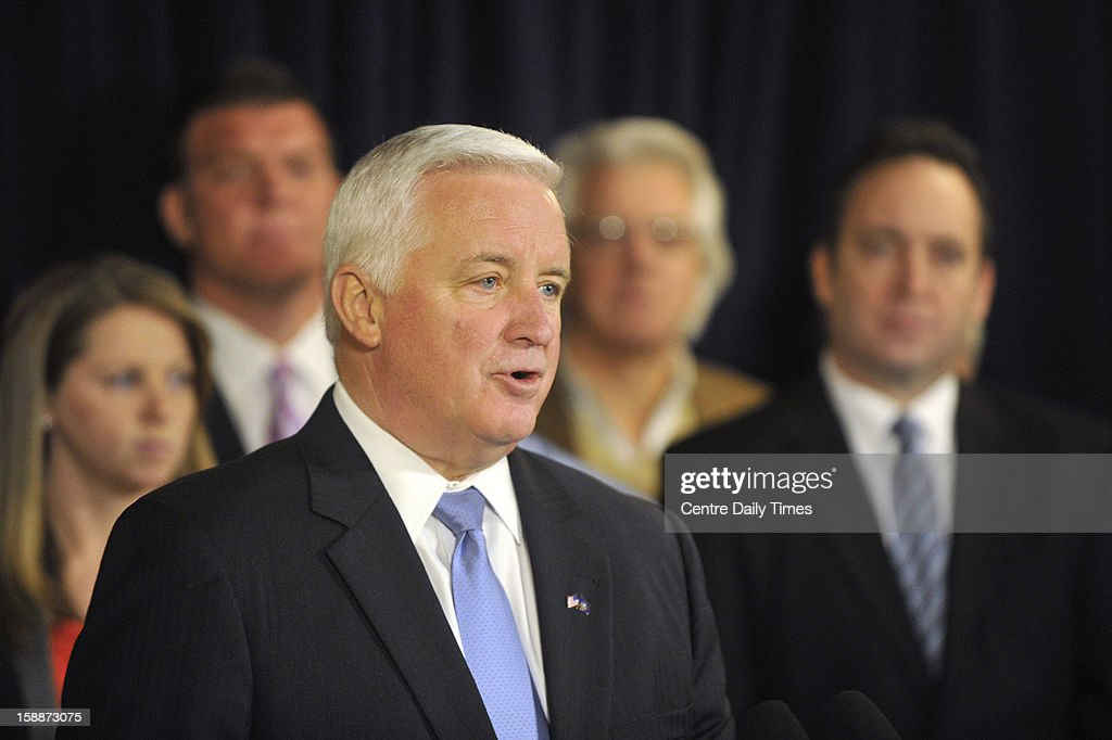 Pennsylvania Gov. Tom Corbett speaks at a news conference to announce a lawsuit against the NCAA at the Nittany Lion Inn on the Penn State campus in State College, Pennsylvania, on Wednesday, January 2, 2013.