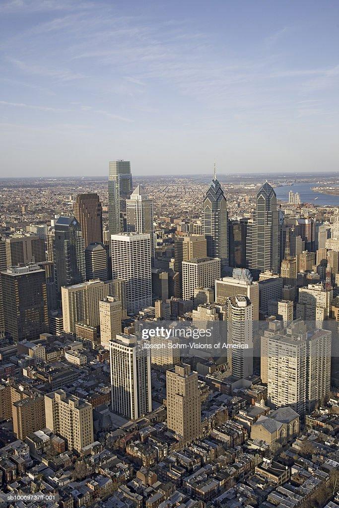 USA, Pennsylvania, Philadelphia, aerial view of downtown : Stock Photo