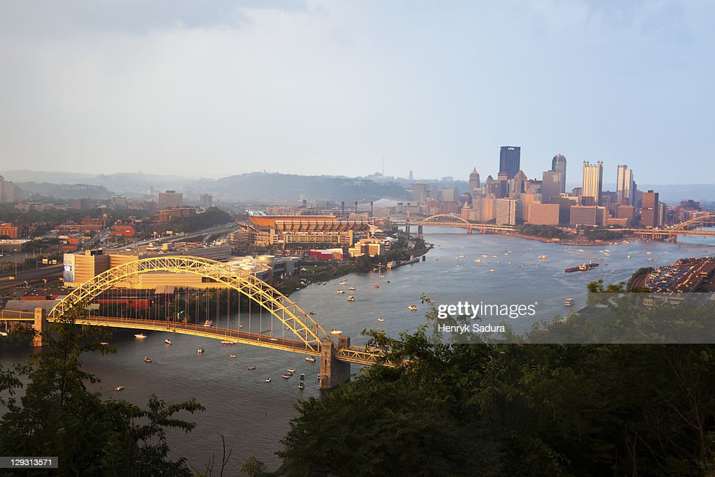 USA, Pennsylvania, Pittsburgh after heavy rain late afternoon