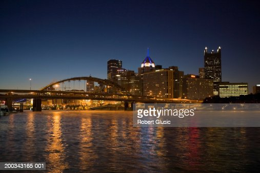 USA, Pennsylvania, Pittsburgh skyline, night : Stock Photo