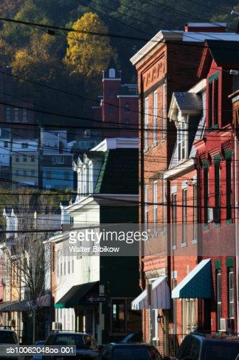 USA, Pennsylvania, Pittsburgh, Southside Area, buildings looking towards Mt. Washington : Stock Photo
