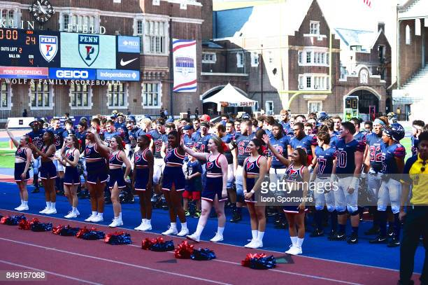 Pennsylvania Quakers celebrate a victory after a college football game between the Penn Quakers and the Ohio Dominican Panthers on September 16 2017...