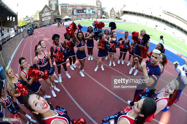 Pennsylvania Quakers cheerleaders celebrate during a college football game between the Penn Quakers and the Ohio Dominican Panthers on September 16...
