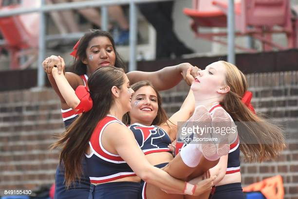 Pennsylvania Quakers cheerleaders perform during a college football game between the Penn Quakers and the Ohio Dominican Panthers on September 16...