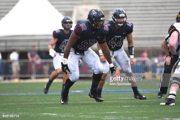 Pennsylvania Quakers defensive end Louis Vecchio eyes the quarterback during a college football game between the Penn Quakers and the Ohio Dominican...
