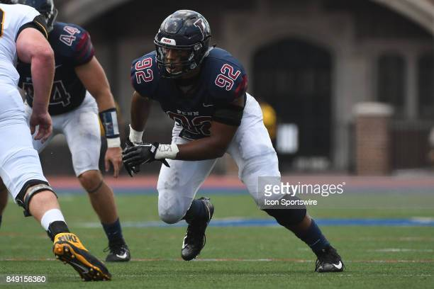 Pennsylvania Quakers defensive end Louis Vecchio rushes the pocket during a college football game between the Penn Quakers and the Ohio Dominican...