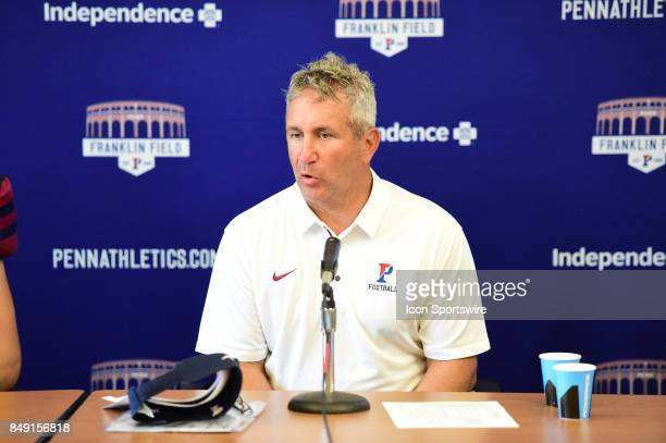 Pennsylvania Quakers head coach Ray Priore at the press conference during a college football game between the Penn Quakers and the Ohio Dominican...