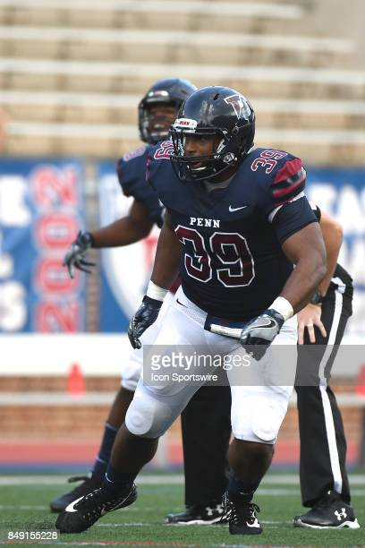 Pennsylvania Quakers linebacker Brandon Mills eyes the pocket during a college football game between the Penn Quakers and the Ohio Dominican Panthers...