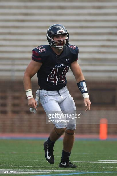 Pennsylvania Quakers linebacker Colton Moskal celebrates a fumble recovery during a college football game between the Penn Quakers and the Ohio...