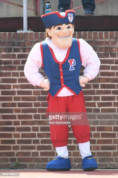 Pennsylvania Quakers mascot performs during a college football game between the Penn Quakers and the Ohio Dominican Panthers on September 16 2017 at...