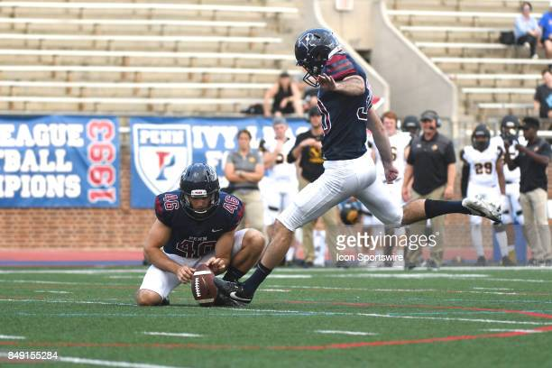 Pennsylvania Quakers place kicker Jack Soslow kicks a field goal during a college football game between the Penn Quakers and the Ohio Dominican...