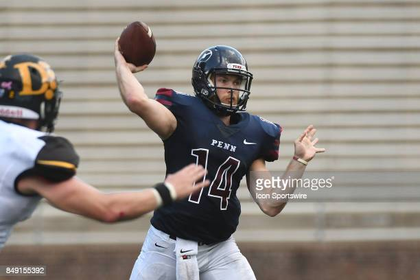 Pennsylvania Quakers quarterback Will FischerColbrie throws a pass during a college football game between the Penn Quakers and the Ohio Dominican...