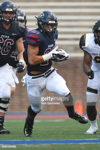 Pennsylvania Quakers running back Abe Willows runs the ball during a college football game between the Penn Quakers and the Ohio Dominican Panthers...