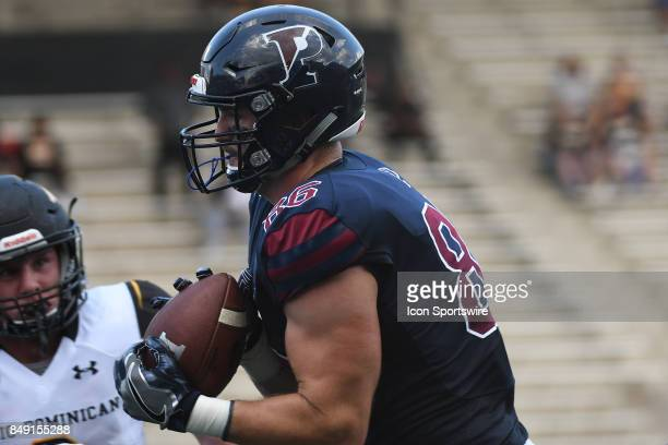 Pennsylvania Quakers tight end Nicholas Bokun catches a touchdown pass during a college football game between the Penn Quakers and the Ohio Dominican...