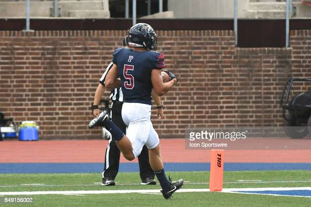 Pennsylvania Quakers wide receiver Justin Watson runs for a touchdown during a college football game between the Penn Quakers and the Ohio Dominican...